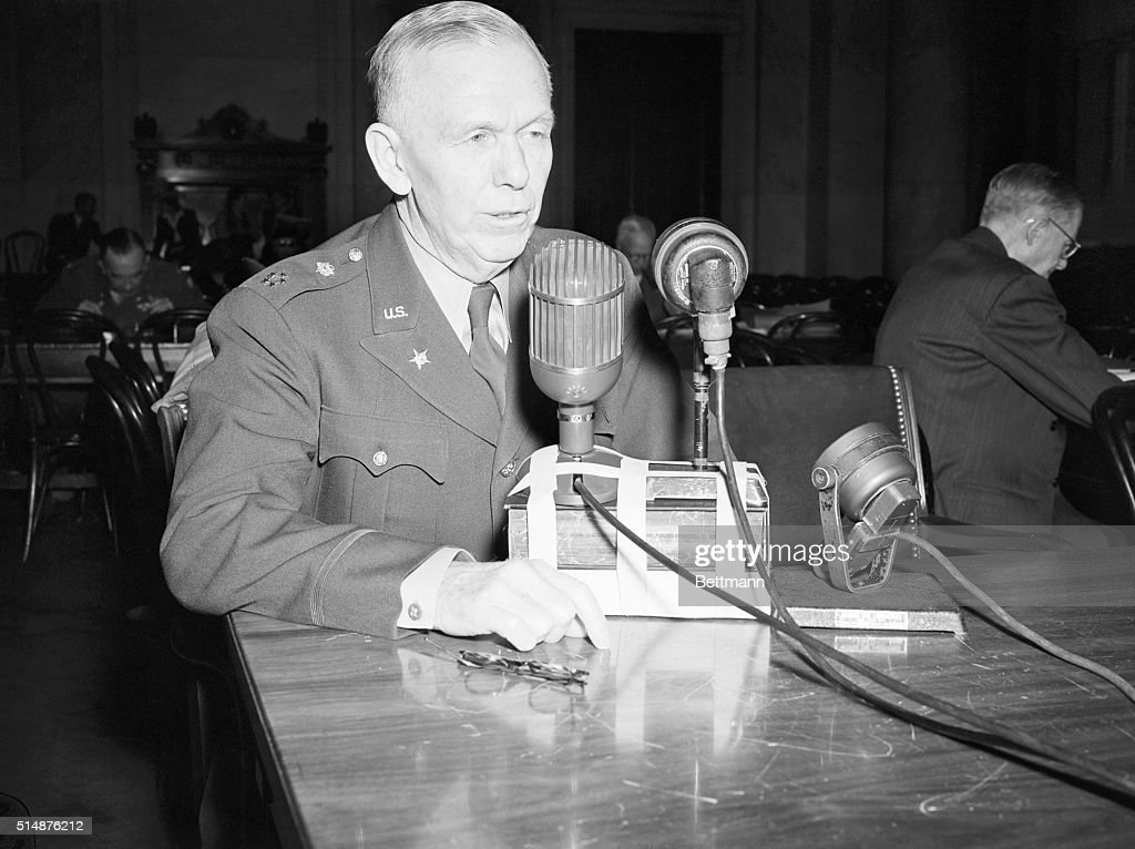 General George C. Marshall, Army chief of staff during World War II, testifies after being called back before the Congressional Pearl Harbor Investigation Committee.