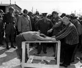 General George S Patton General Omar Bradley and General Dwight D Eisenhower visit Ohrdruf forced labour camp near Gotha in Germany after its...