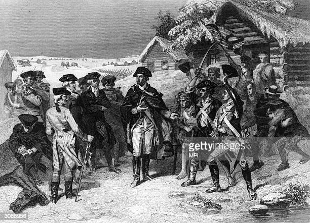 General George Washington and his ragged shoeless army of 12000 make camp at Valley Forge in Pennsylvania during the winter of 1777 1778 at a low...