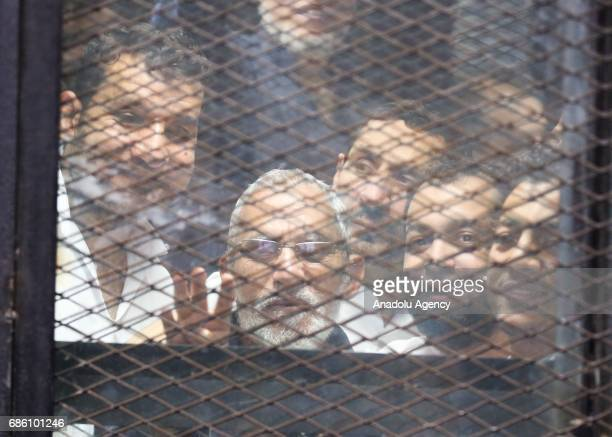 General Guide of the Egyptian Muslim Brotherhood Mohammed Badie is seen during the trial session known as breaking up the Rabaa elAdaweya protests...