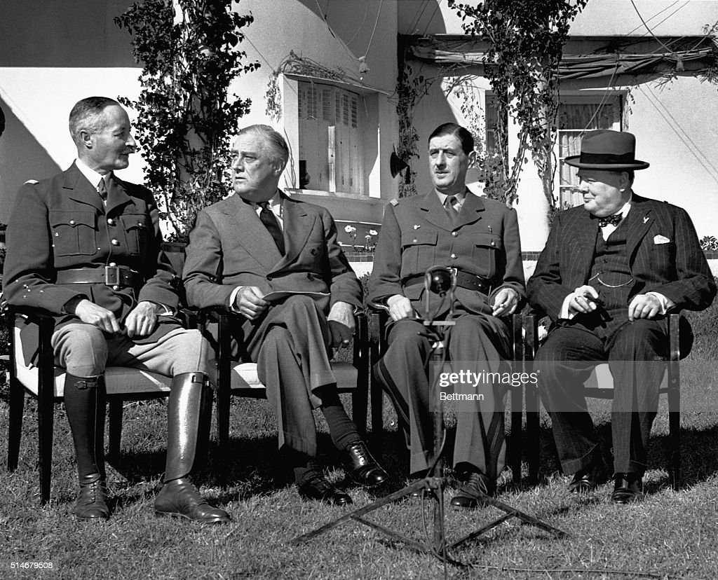 General Henri Giraud, Franklin Delano Roosevelt, Charles de Gaulle, and Winston Churchill at the Casablanca Conference.