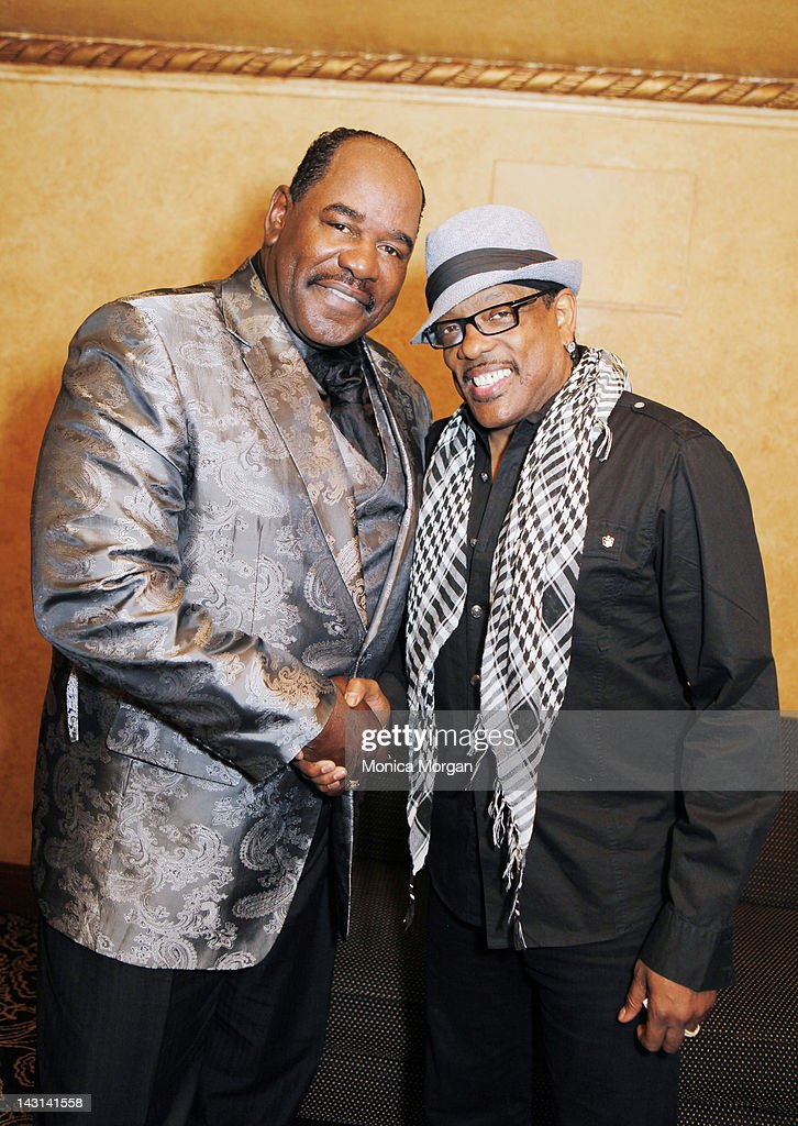 General Holiefield and Charlie Wilson backstage at the Fox Theatre on April 8, 2012 in Detroit, Michigan.