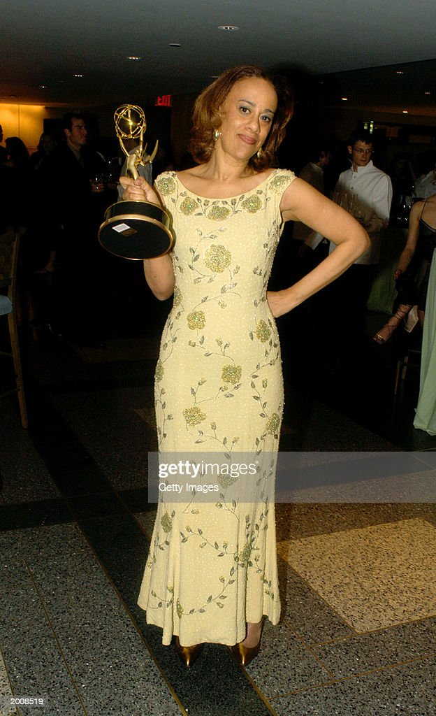 'General Hospital' writer Michelle Patrick poses with her Emmy for Outstanding Drama Writing at the after party for the 30th Annual Daytime Emmy Awards at the Sea Grill Restaurant May 16, 2003 in New York City.