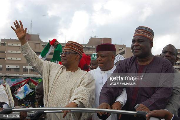 General Ibrahim Babangida Campaign Director Chief Ken Nnamani and Media guru Chief Raymond Dokepsi participate in a rally on September 15 2010 on...