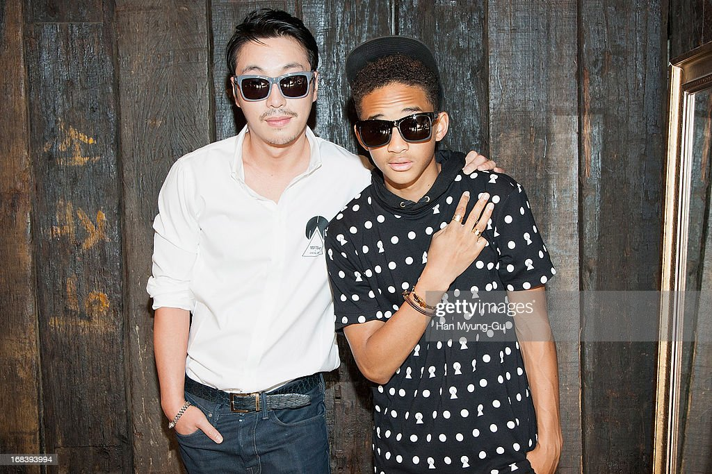General Idea designer, Choi Bum-Suk and actor <a gi-track='captionPersonalityLinkClicked' href=/galleries/search?phrase=Jaden+Smith&family=editorial&specificpeople=709174 ng-click='$event.stopPropagation()'>Jaden Smith</a> pose for media during a promotional event for the 'General Idea' Gangnam Store on May 8, 2013 in Seoul, South Korea.