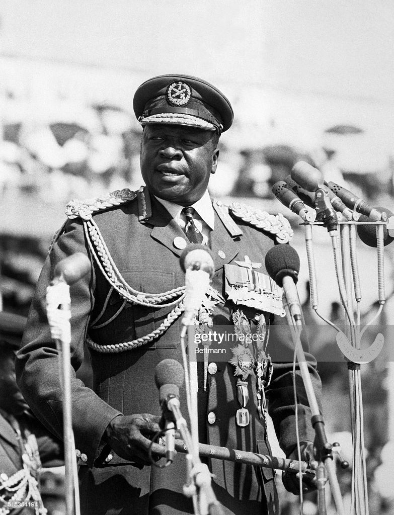 General Idi Amin, President of Uganda, speaks at a military parade in January of 1975.