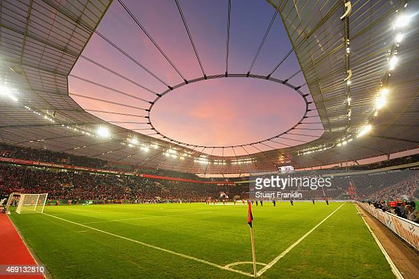 A general inside view is seen as sun sets prior to kickoff at the DFB Pokal quater final match between Bayer Leverkusen and FC Bayern Muenchen at...