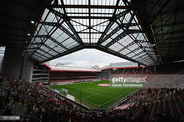 A general inside view of the FritzWalterStadium is pictured prior to the Bundesliga match between 1 FC Kaiserslautern and FC Augsburg at...
