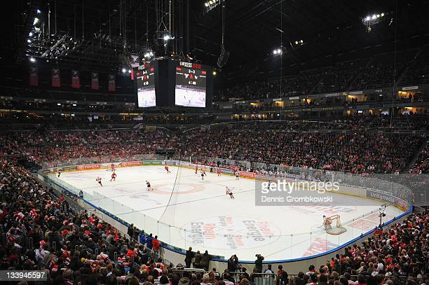 A general inside view of the Lanxess Arena is pictured during the DEL match between Koelner Haie and DEG Metro Stars at Lanxess Arena on November 22...