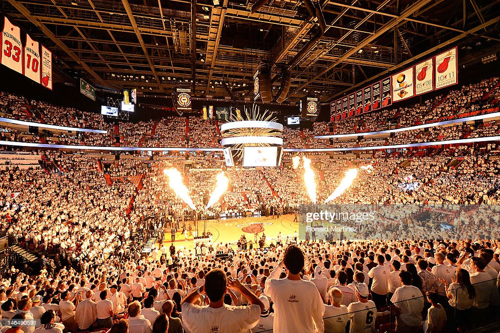 A general interior of the arena as fans cheer during pregame festivities prior to the Miami Heat playing against the Oklahoma City Thunder in Game...