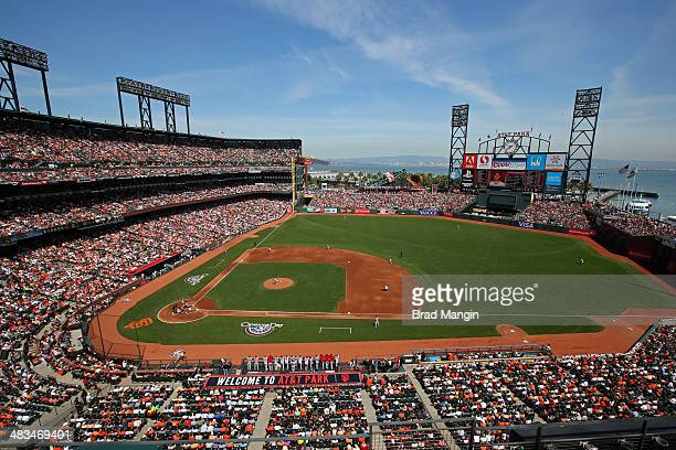 General interior overall scenic view on Opening Day during the game between the Arizona Diamondbacks and San Francisco Giants at ATT Park on Tuesday...