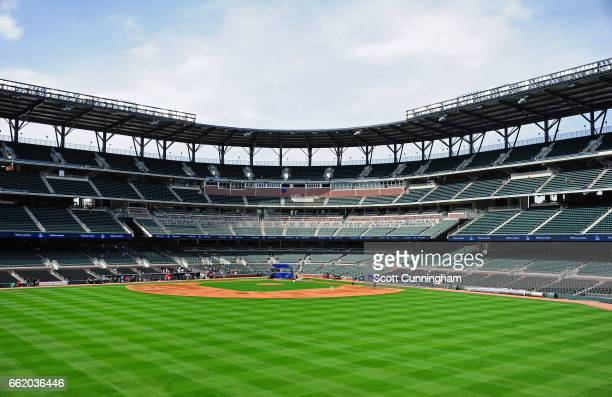 A general interior view of SunTrust Park before the exhibition game between the Atlanta Braves and the New York Yankees on March 31 2017 in Atlanta...