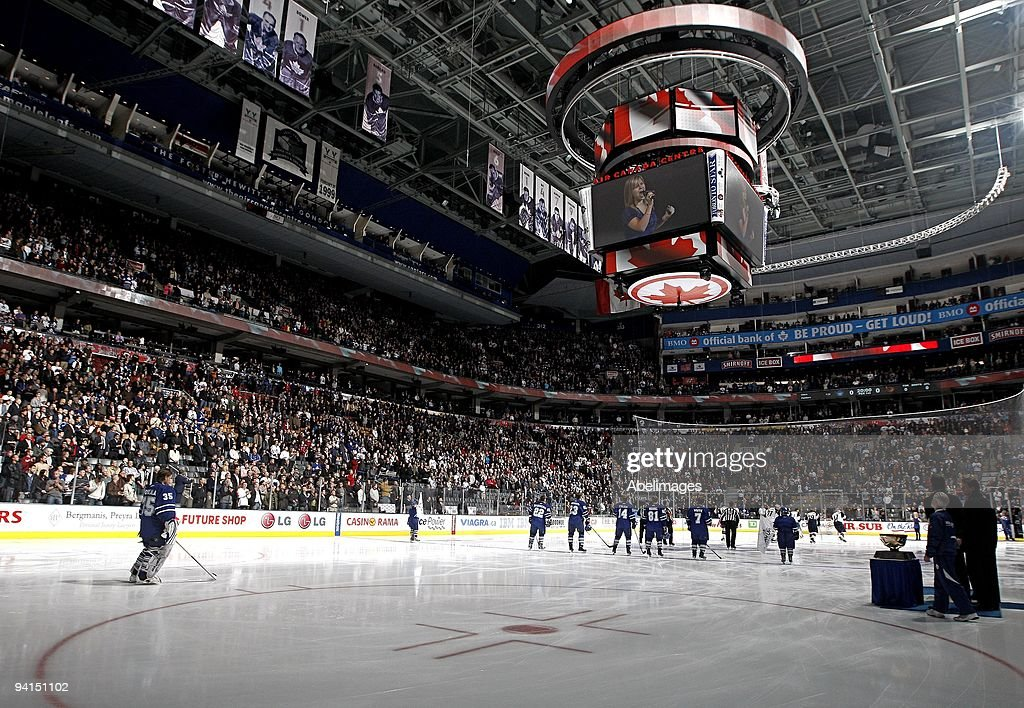 General interior view of the scoreboard and arena as the Toronto Maple Leafs and the Atlanta Thrashers stand for the National Anthems on December 7...