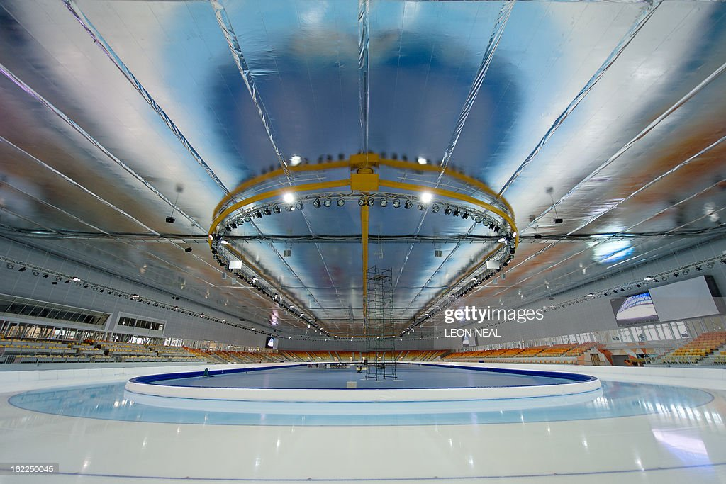 General interior view of the speed-skating venue in the Olympic Park in Adler on February 21, 2013. With a year to go until the Sochi 2014 Winter Games, construction work continues as tests events and World Championship competitions are underway.