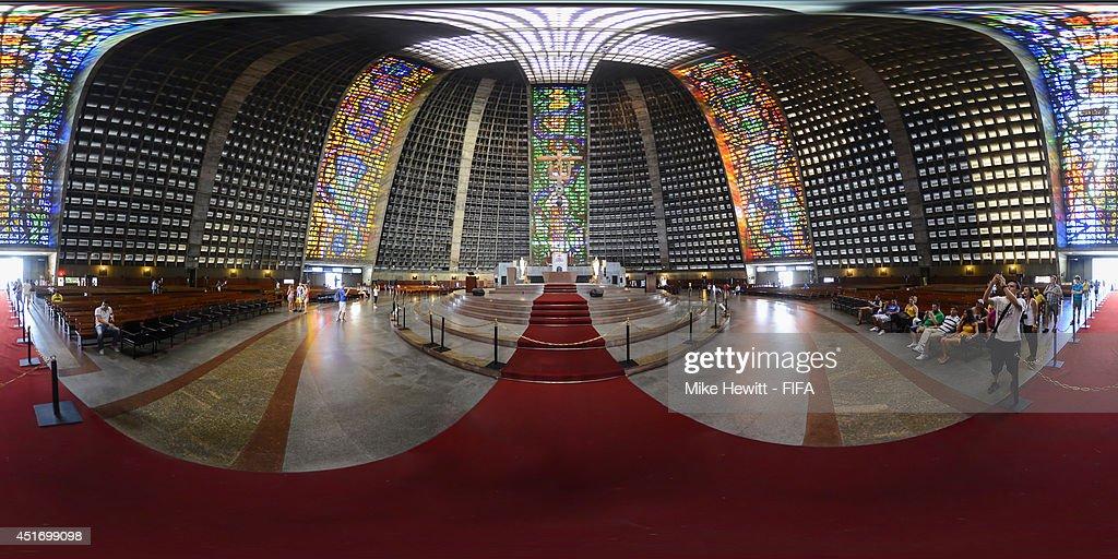A general interior view of the The Metropolitan Cathedral of Rio de Janeiro on July 3, 2014 in Rio De Janeiro, Brazil.