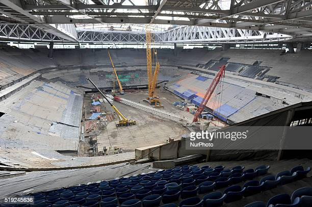 A general interior view on the construction site of the Zenit Arena venue for the FIFA World Cup 2018 in St Petersburg Russia 05 April 2016 A joint...