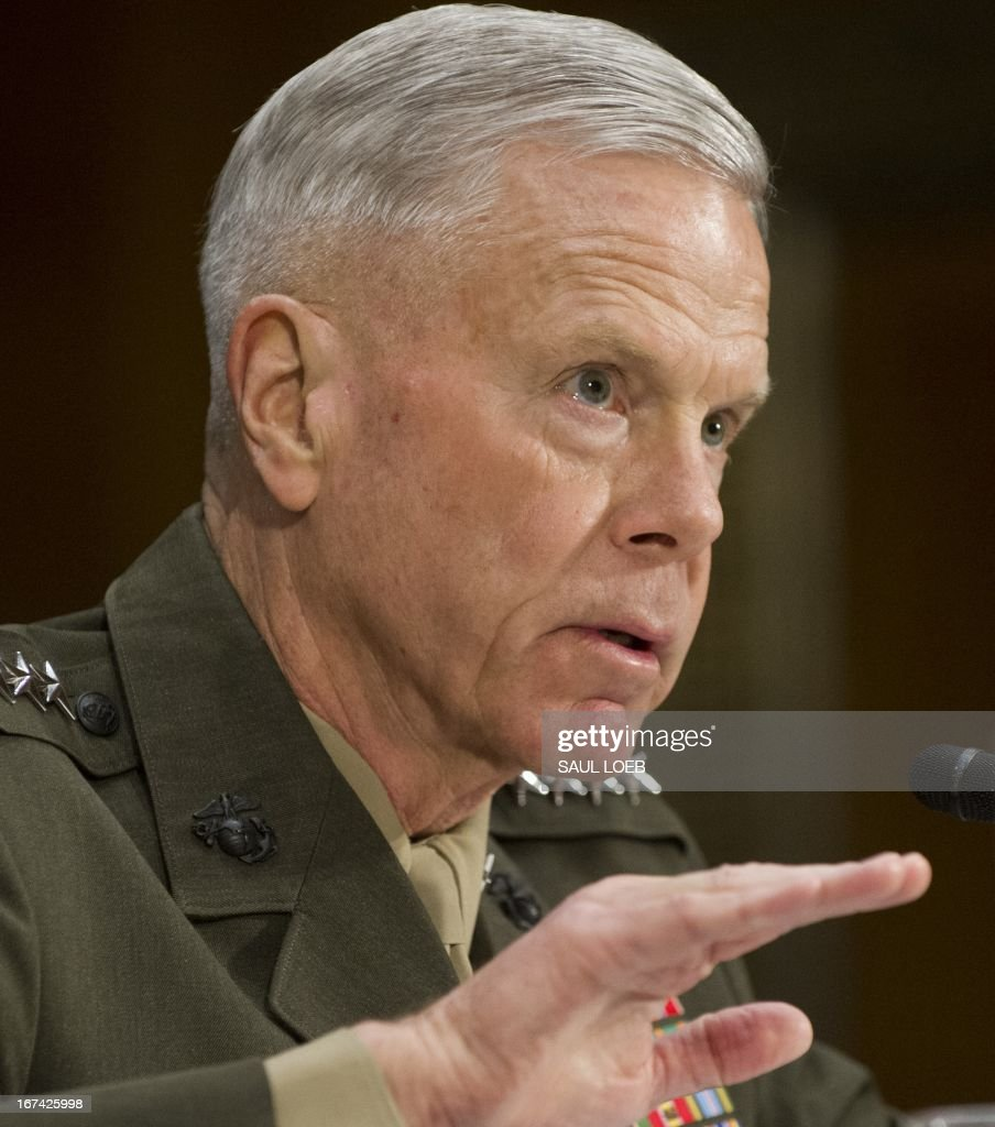 US General James Amos, Commandant of the US Marine Corps, testifies on the Defense Authorization Request for the fiscal year 2014 budget during a US Senate Armed Services Committee hearing on Capitol Hill in Washington, DC, on April 25, 2013. AFP PHOTO / Saul LOEB
