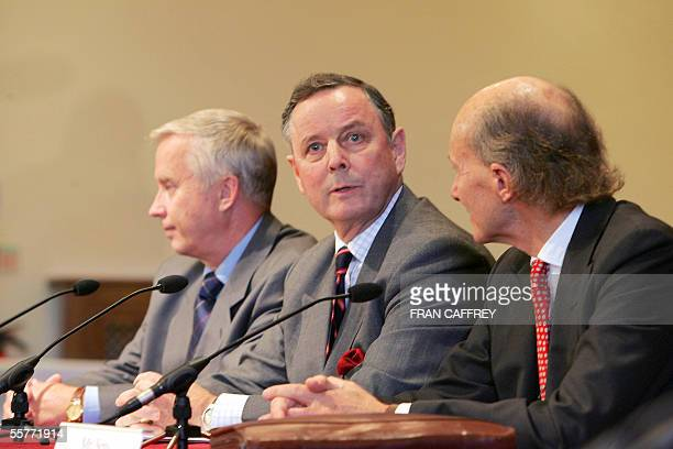General John de Chastelain the retired Canadian military chief overseeing the disarmament process in Northern Ireland speaks at a press conference...