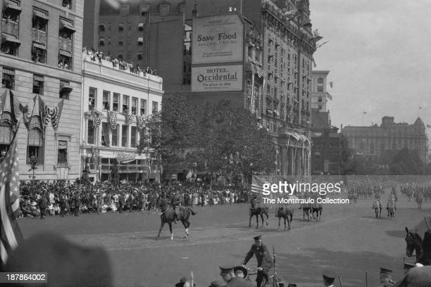 General John Joseph Pershing parading on horseback through Washington DC USA 17th September 1919