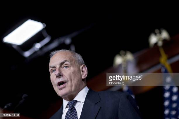 General John Kelly US secretary of Homeland Security speaks during a news conference in Washington DC US on Thursday June 29 2017 The House is poised...