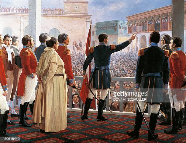 General Jose de San Martin proclaiming the independence of Peru July 28 1821 Peru 19th century