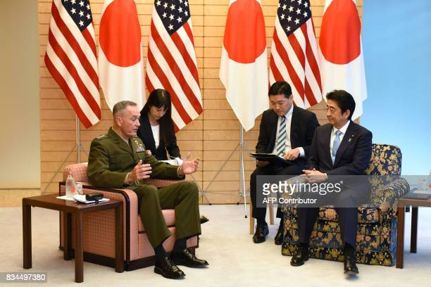General Joseph Dunford chairman of the US Joint Chiefs of Staff meets with Japan's Prime Minister Shinzo Abe at Abe's official residence in Tokyo on...