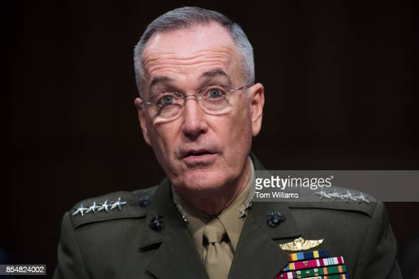 General Joseph F Dunford Chairman of the Joint Chiefs of Staff testifies during a Senate Armed Services Committee hearing on his reappointment to the...