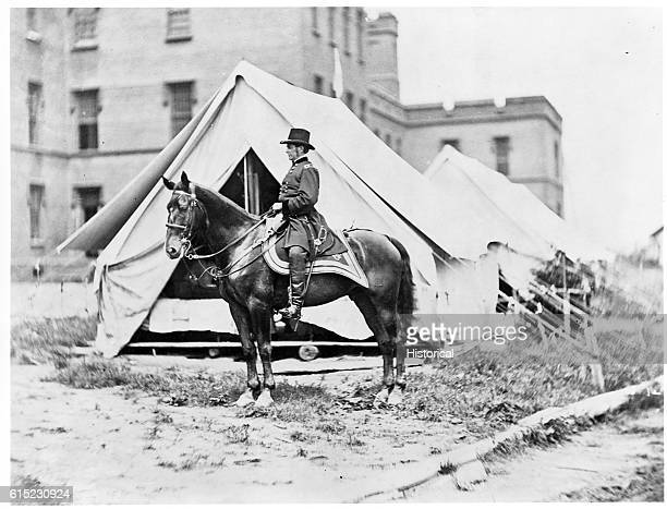 General Joseph Hooker sits on his horse He commanded Union troops in many major battles of the Civil War