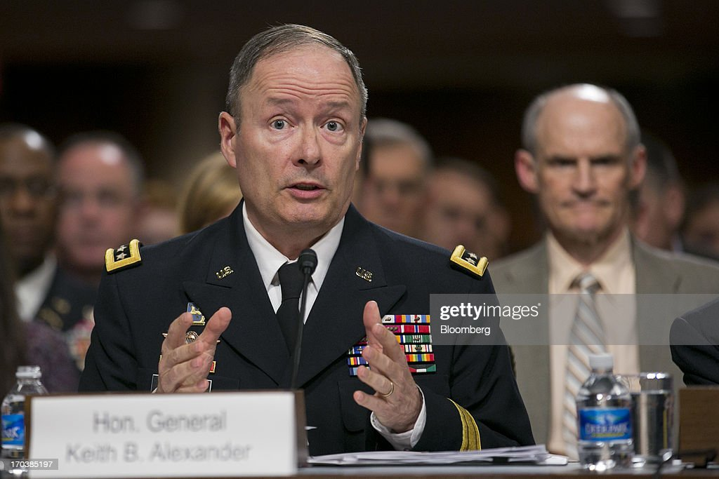 General Keith Alexander, director of the National Security Agency and commander of the U.S. Cyber Command, speaks during a Senate Appropriations Committee hearing in Washington, D.C., U.S., on Wednesday, June 12, 2013. Americans need to trust the government isn't violating their civil rights after a 29-year-old contractor exposed classified programs to collect broad Internet and telephone-call data, the National Security Agency's director said. Photographer: Andrew Harrer/Bloomberg via Getty Images
