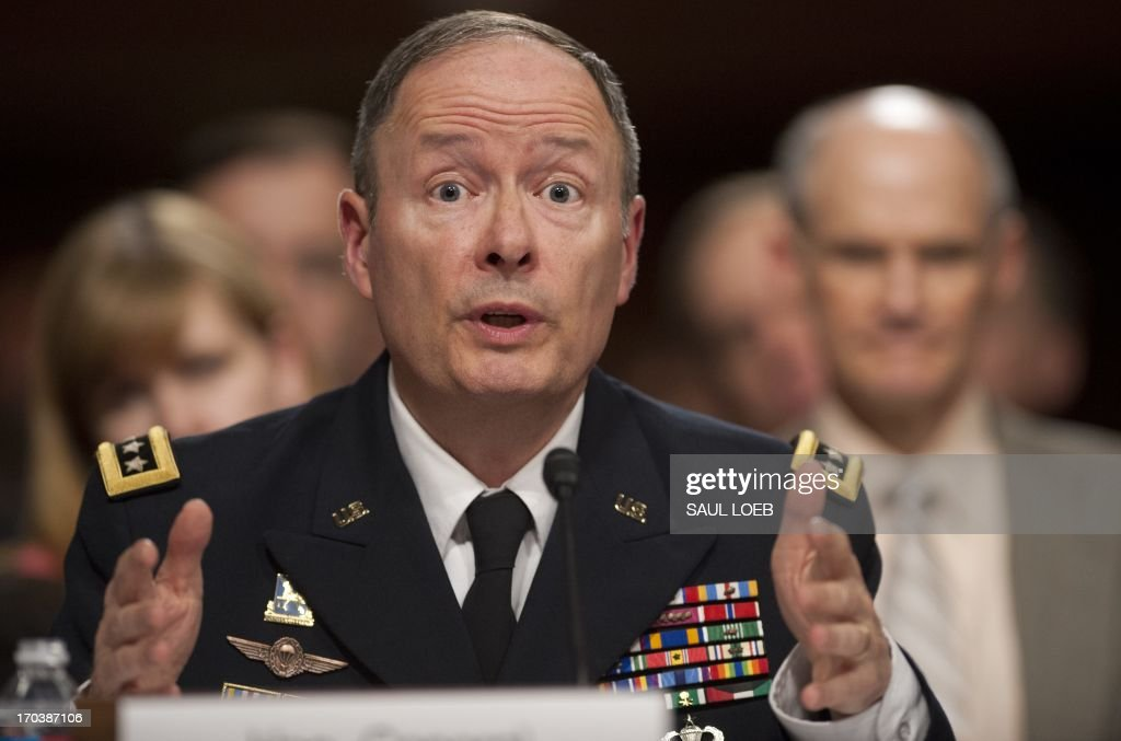 General Keith Alexander, director of the National Security Agency (NSA), commander of the US Cyber Command and chief of the Central Security Service testifies before the Senate Appropriations Committee on the agency's PRISM program, which tracks web traffic and US citizens' phone records, during a hearing on Capitol Hill in Washington, DC, June 12, 2013. AFP PHOTO / Saul LOEB