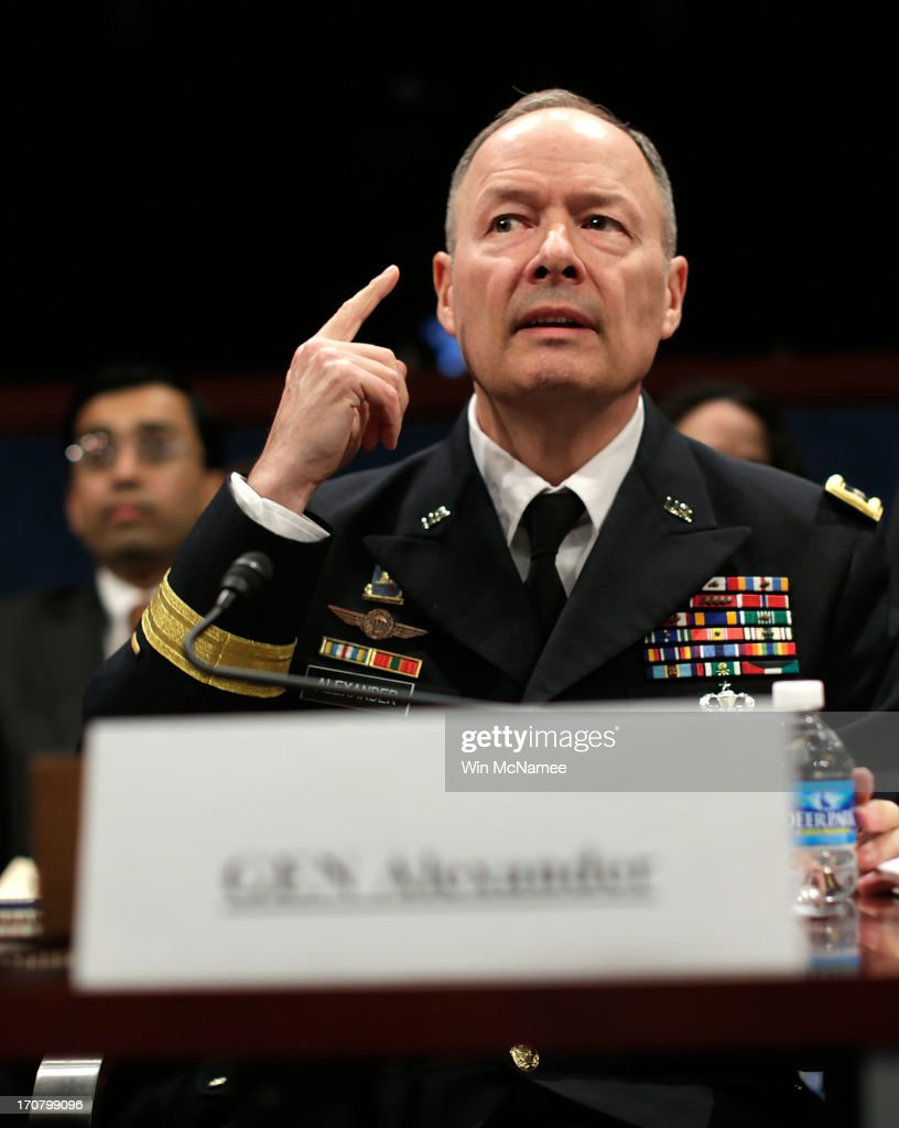 General Keith Alexander, director of the National Security Agency, appears before the House Select Intelligence Committee June 18, 2013 in Washington, DC. The committee heard testimony on the topic of 'how the disclosed NSA programs protect Americans from terror attacks on US soil, and why the disclosure of that classified information aids our adversaries.'