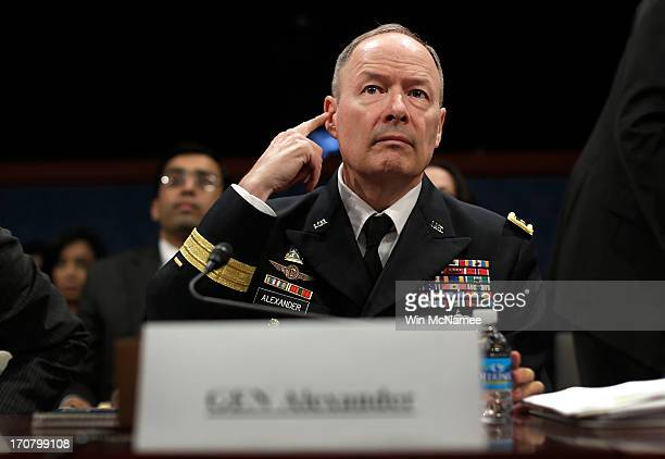 General Keith Alexander director of the National Security Agency appears before the House Select Intelligence Committee June 18 2013 in Washington DC...
