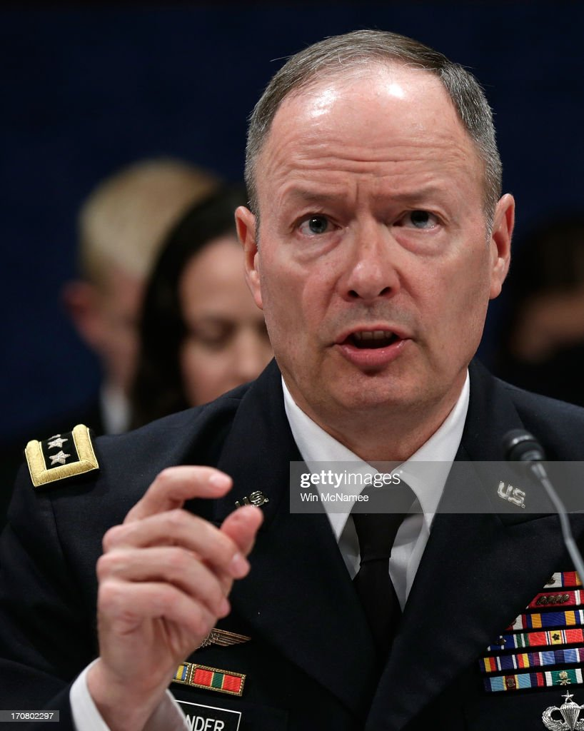 General Keith Alexander, Director of the National Security Agency, testifies before the House Select Intelligence Committee June 18, 2013 in Washington, DC. The committee heard testimony on the topic of 'how the disclosed NSA programs protect Americans from terror attacks on US soil, and why the disclosure of that classified information aids our adversaries.'