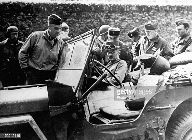 General Leclerc Commanding General of the French Second Armored Division halts in Rambouillet on the road to Paris
