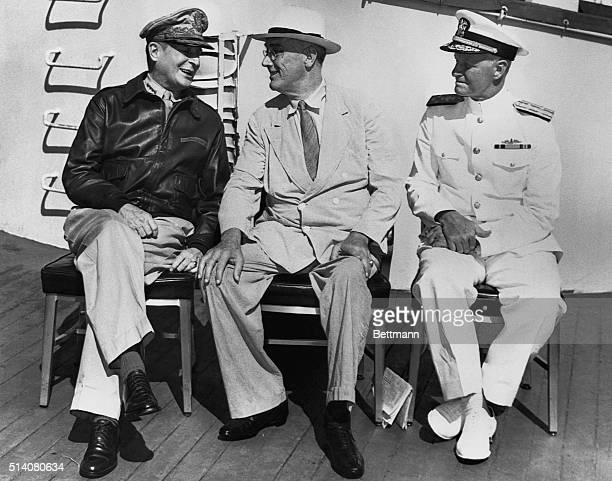 General MacArthur President Roosevelt and Admiral Nimitz discuss the progress of the war