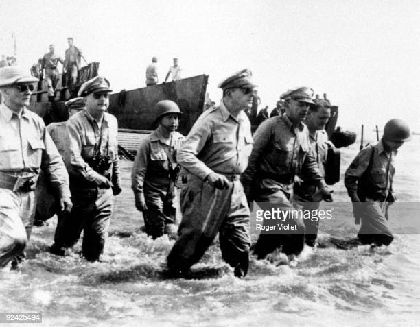 General MacArthur reaching the shore at Leyte October 1944