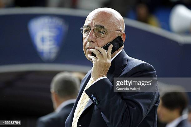 General Magager of AC Milan Adriano Galliani is seen before the Serie A match between Empoli FC and AC Milan at Stadio Carlo Castellani on September...
