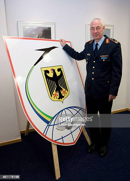 General Major Dr Ansgar Rieks chief of the German Military Aviation Authority standing at the logo of the Aviation Authority on January 08 2015 in...