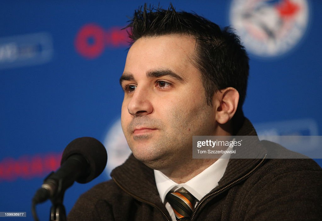 General manager <a gi-track='captionPersonalityLinkClicked' href=/galleries/search?phrase=Alex+Anthopoulos&family=editorial&specificpeople=6770623 ng-click='$event.stopPropagation()'>Alex Anthopoulos</a> of the Toronto Blue Jays at a press conference introducing Jose Reyes #7 at Rogers Centre on January 17, 2013 in Toronto, Ontario, Canada.