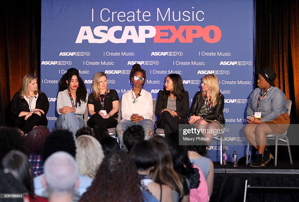 General Manager, Artist Publishing Group Angie Pagano, songwriter Kirby, Singer-songwriter Kay Hanley, rapper, songwriter Gizzle, Sr. Director, A&R, Sony/ATV Music Publishing Jennifer Drake, Chief Marketing Officer, MAC Presents Marta Cyhan and moderator Associate Director, Rhythm & Soul, Membership, ASCAP Joncier Rienecker speak onstage at the 2016 ASCAP 'I Create Music' EXPO on April 29, 2016 in Los Angeles, California.