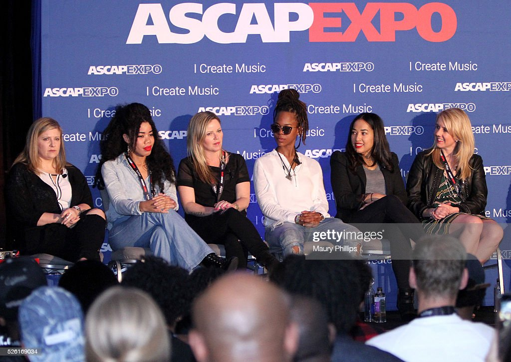 General Manager, Artist Publishing Group Angie Pagano, songwriter Kirby, Singer-songwriter Kay Hanley, rapper, songwriter Gizzle, Sr. Director, A&R, Sony/ATV Music Publishing Jennifer Drake and Chief Marketing Officer, MAC Presents Marta Cyhan speak onstage at the 2016 ASCAP 'I Create Music' EXPO on April 29, 2016 in Los Angeles, California.