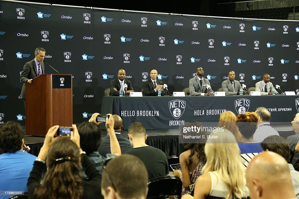 General Manager Billy King, Head Coach Jason Kidd, Kevin Garnett #2, Paul Pierce #34, and Jason Terry #31 of the Brooklyn Nets are introduced at a press conference at the Barclays Center on July 18, 2013 in the Brooklyn borough of New York City.