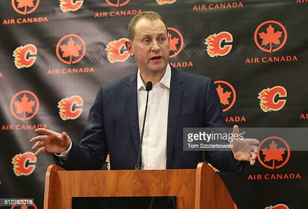 General manager Brad Treliving of the Calgary Flames address the media before the trade deadline prior to the team's NHL game against the Ottawa...