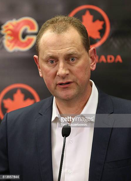 General manager Brad Treliving of the Calgary Flames addresses the media before the trade deadline prior to the teamâs NHL game against the Ottawa...