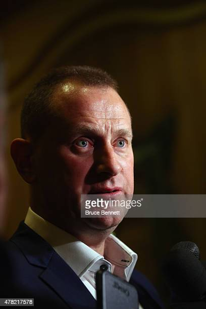 General Manager Brad Treliving of the Calgary Flames of the meets with the media following the NHL General managers Meetings at the Bellagio Las...