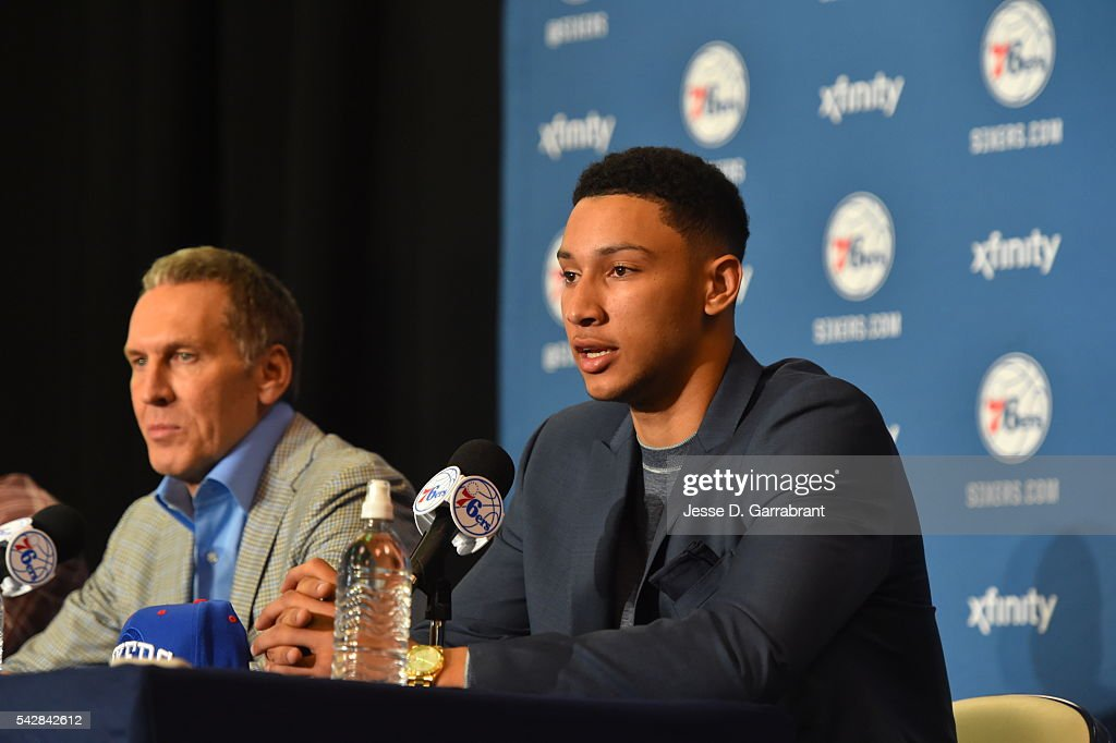 General Manager <a gi-track='captionPersonalityLinkClicked' href=/galleries/search?phrase=Bryan+Colangelo&family=editorial&specificpeople=619854 ng-click='$event.stopPropagation()'>Bryan Colangelo</a> and <a gi-track='captionPersonalityLinkClicked' href=/galleries/search?phrase=Ben+Simmons+-+Basketball+Player&family=editorial&specificpeople=13900541 ng-click='$event.stopPropagation()'>Ben Simmons</a> attend a press conference after being selected by the Philadelphia 76ers in the 2016 NBA Draft on June 24, 2016 in Philadelphia, PA.