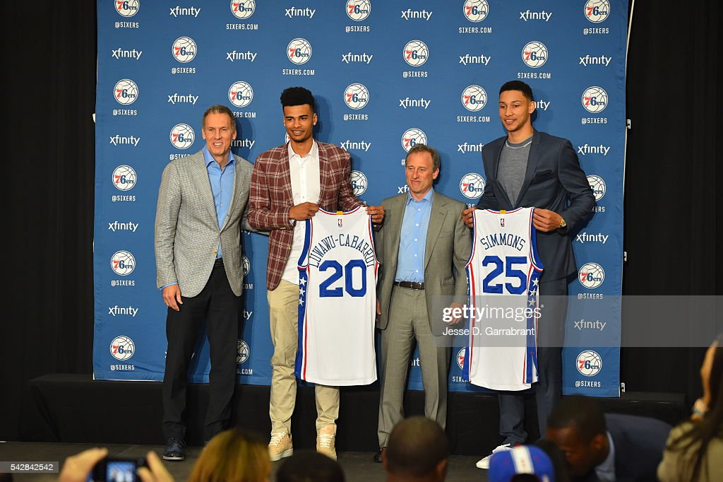 General Manager <a gi-track='captionPersonalityLinkClicked' href=/galleries/search?phrase=Bryan+Colangelo&family=editorial&specificpeople=619854 ng-click='$event.stopPropagation()'>Bryan Colangelo</a>, Timothé Luwawu-Cabarrot, Owner <a gi-track='captionPersonalityLinkClicked' href=/galleries/search?phrase=Joshua+Harris+-+Businessman&family=editorial&specificpeople=11449745 ng-click='$event.stopPropagation()'>Joshua Harris</a> and <a gi-track='captionPersonalityLinkClicked' href=/galleries/search?phrase=Ben+Simmons+-+Basketball+Player&family=editorial&specificpeople=13900541 ng-click='$event.stopPropagation()'>Ben Simmons</a> attend a press conference after being selected by the Philadelphia 76ers in the 2016 NBA Draft on June 24, 2016 in Philadelphia, PA.