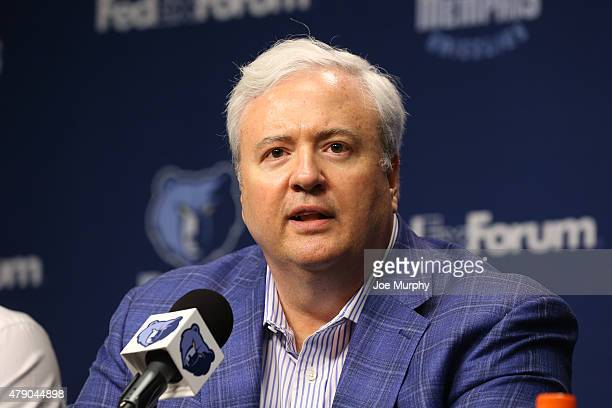 General Manager Chris Wallace of the Memphis Grizzlies addresses the media during a press conference introducing 2015 NBA draft picks on June 29 2015...