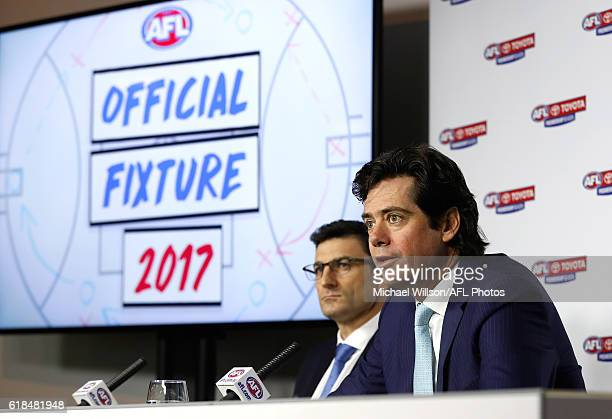 General Manager Clubs and Operations Travis Auld and AFL CEO Gillon McLachlan speak to the media during the 2017 AFL Season Fixture Release at AFL...