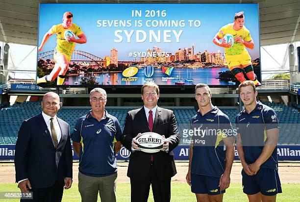ARU General Manager Commercial John Nicholl Australian Sevens coach Geraint John NSW Deputy Premier Troy Grant and Australian Sevens players Ed...